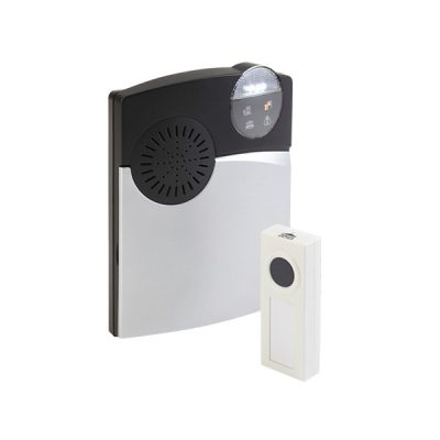 Wireless door alerting device with bell push EchoChime300